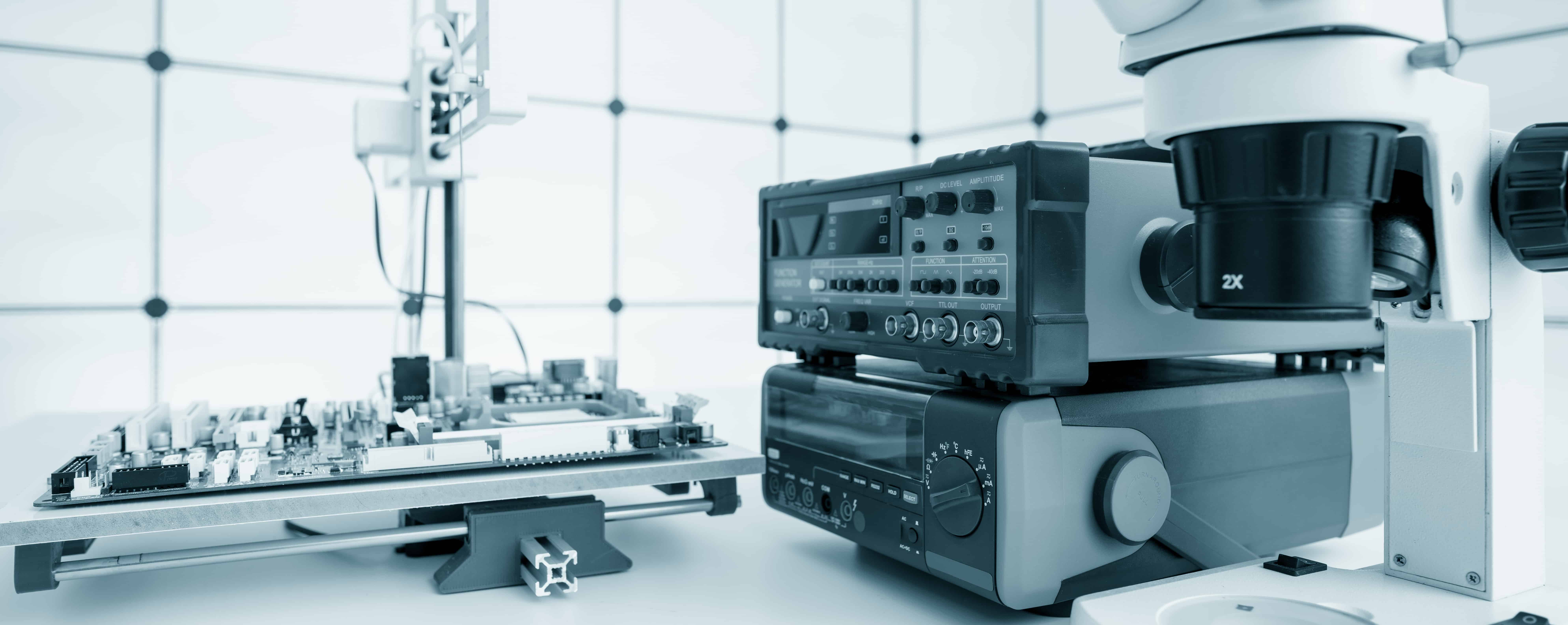 Test equipment in a semiconductor manufacturing and design lab